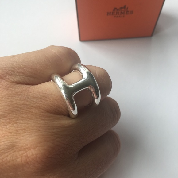 "newest collection 100% top quality detailed pictures HERMES. Silver Ring. ""Bague Osmose"""